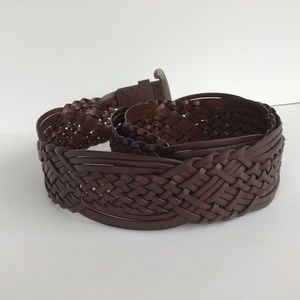 Accessories - BROWN WOVEN LEATHER BELT